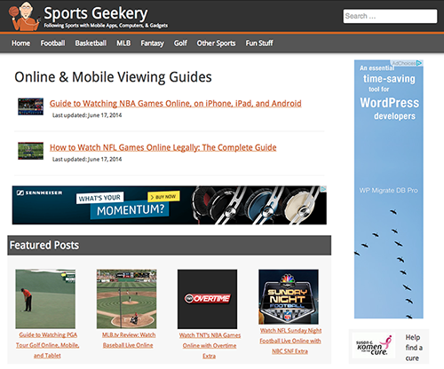 Custom WordPress Theme for SportGeekery.com image