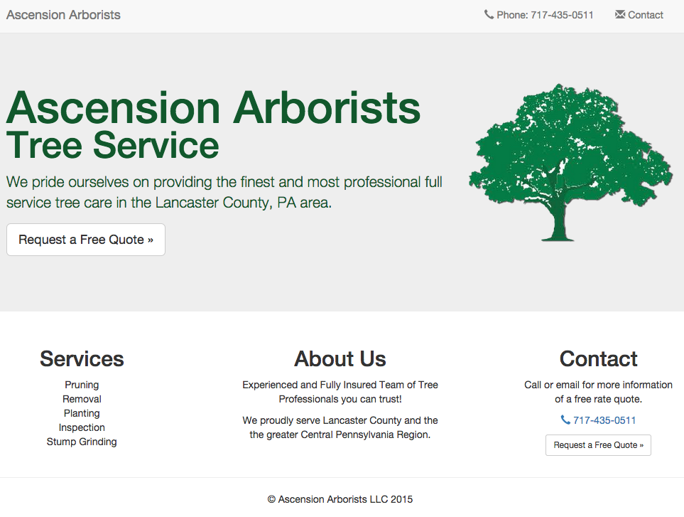 Ascension Arborists website