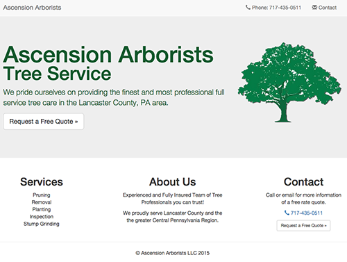 Ascension Arborists Website image