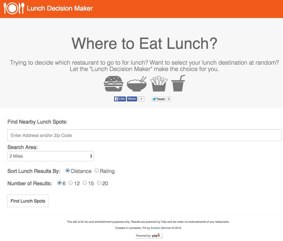 Lunch Decision Maker Website