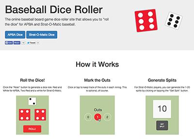 BaseballDiceRoller.com – Online Random Dice Roll Generator for APBA and Strat-O-Matic image
